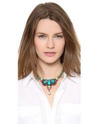 Elizabeth Cole - Green Dangling Pear Necklace - Lyst