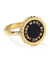Marc By Marc Jacobs - Black Saw Tooth Enamel Disc Ring - Lyst