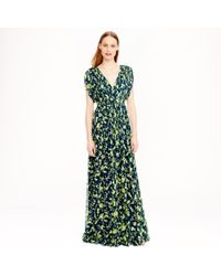 J.Crew - Green Claire Dress In Floral Chiffon - Lyst