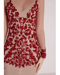 Missguided | Premium Embellished Long Sleeve Mesh Bodycon Dress Red | Lyst