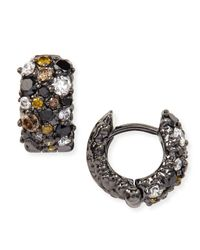 Paul Morelli | Small Multicolor Diamond Confetti Hoop Earrings | Lyst