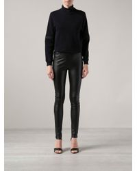 MM6 by Maison Martin Margiela - Black Leather Skinny Trousers - Lyst