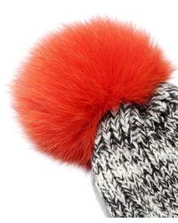 Yves Salomon Gray Salt And Pepper Fur Bobble Beanie Hat