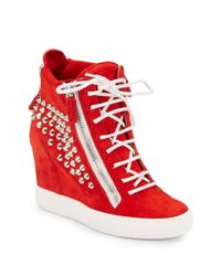 Giuseppe Zanotti | Red Studded Suede Wedge Sneakers | Lyst