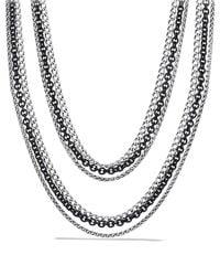 "David Yurman | Metallic Three-row Chain Necklace, 18"" | Lyst"
