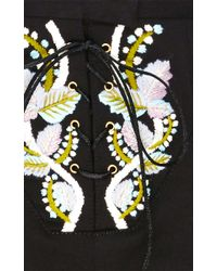 Cynthia Rowley - Black Embroidered Twill Shorts - Lyst