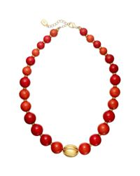Lauren by Ralph Lauren | Red Graduated Coral Bead Strand Necklace | Lyst