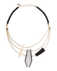 Max Mara | Black Necklace With Large Stone Detail | Lyst