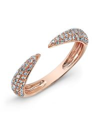Anne Sisteron | 14kt Rose Gold Diamond Horn Pinkie Ring | Lyst
