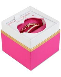 Betsey Johnson | Pink Rose Gold-tone Crystal And Stone Bow Bangle Bracelet Set | Lyst