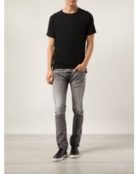 DIESEL - Gray Thavar Sweat Jeans for Men - Lyst