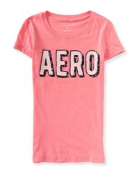 Aéropostale | Pink Sequined Aero Graphic T | Lyst