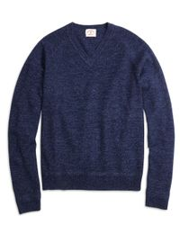 Brooks Brothers - Blue Marled V-neck Sweater - Lyst