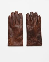 Zara | Brown Gloves With Wavy Seam for Men | Lyst