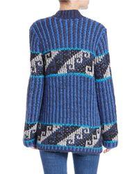 Free People - Blue Knit Cardigan - Lyst