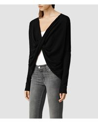 AllSaints | Black Cropped Reversible Itat Shrug Usa Usa | Lyst
