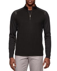Calvin Klein | Black Textured Quarter Zip Sweater for Men | Lyst