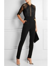 Self-Portrait - Black Embroidered Lace-Paneled Woven Jumpsuit - Lyst