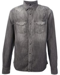DIESEL - Gray Denim Shirt for Men - Lyst