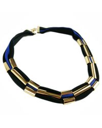 Marion Vidal | Metallic Black And Blue Polyester Ribbon Necklace | Lyst