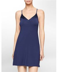 Calvin Klein | Blue Underwear Essentials Satin Trim Chemise | Lyst