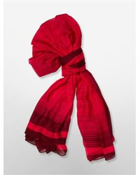 Calvin Klein | Red White Label Flash Of Light Ombre Border Square Scarf | Lyst