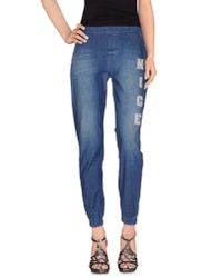 Pinko - Blue Denim Trousers - Lyst