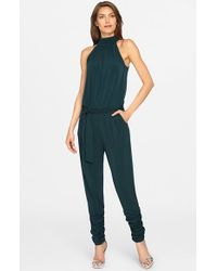 Catherine Malandrino | Green 'edie' Belted Jersey Jumpsuit | Lyst