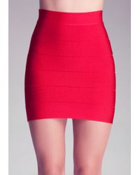 Bebe - Red Solid Bandage Skirt - Lyst