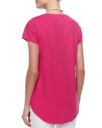 Eileen Fisher - Red Short-sleeve Scoop-neck Tee - Lyst