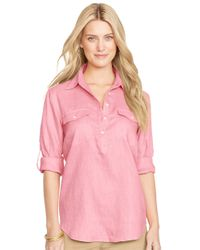 Lauren by Ralph Lauren | Pink Linen Rolled-sleeve Shirt | Lyst