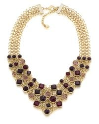 Carolee | Metallic Gold-Tone Berry Stone Mesh Bib Necklace - Benefits The Breast Cancer Research Foundation® | Lyst