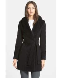 Trina Turk | Black 'jane' Wool Blend Wrap Coat | Lyst