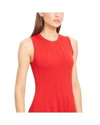 Ralph Lauren - Red Knit Sleeveless A-line Dress - Lyst