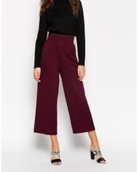 ASOS | Purple High Waist Textured Wide Trouser | Lyst