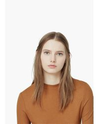 Mango | Brown Ribbed Side Slit T-shirt | Lyst