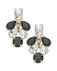 kate spade new york | Gold-tone Clear Crystal And Black Stone Chandelier Earrings | Lyst