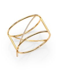 Elizabeth and James | Metallic Velde PavÉ White Topaz Cuff Bracelet | Lyst