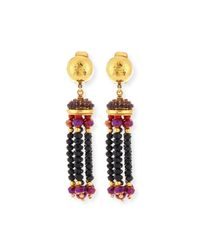 Jose & Maria Barrera | Red Crystal Tassel Clip-on Earrings | Lyst