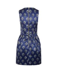 Markus Lupfer Blue Strawberry Print Vivian Dress