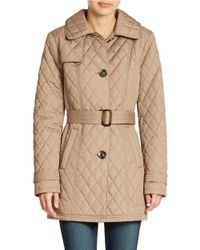 Ellen Tracy - Brown Diamond Quilted Belted Jacket - Lyst