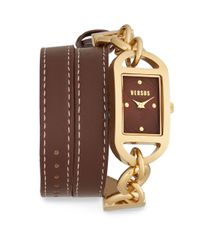 Versus | Riviera Beach Goldtone-finished Stainless Steel Double Wrap Brown Leather Strap Watch for Men | Lyst
