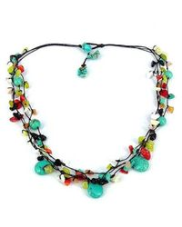 Aeravida | Blue Multi Strand Various Stone Wax Rope Necklace | Lyst