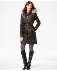 RACHEL Rachel Roy | Green Faux-fur-hood Belted Puffer Coat | Lyst