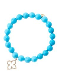 Sydney Evan - Blue 8Mm Turquoise Beaded Bracelet With 14K Rose Gold/Diamond Moroccan Flower Charm (Made To Order) - Lyst