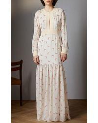 Vilshenko - Natural Constance Moon Crescent Long Tiered Dress - Lyst
