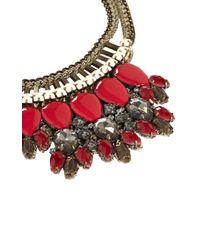Karen Millen - Red Metallic Blue Crochet Necklace - Lyst