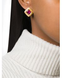Louis Feraud Vintage | Metallic Square-shaped Earrings | Lyst