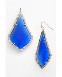 Kendra Scott | Blue 'alexandra' Large Drop Earrings - Cobalt Catseye/ Gold | Lyst
