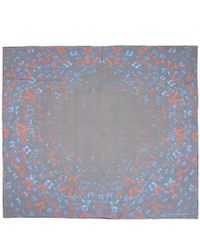 Alexander McQueen - Blue Butterfly Silk Scarf - Lyst